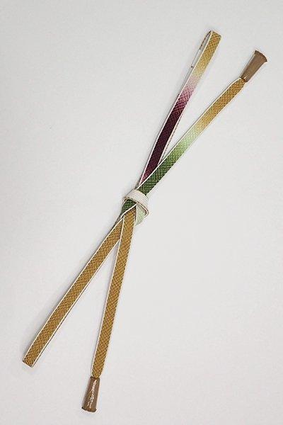 銀座【G-1401】京都 衿秀製 帯締め 平組 三色暈かし 芥子色×濃松葉色×葡萄色(新品)