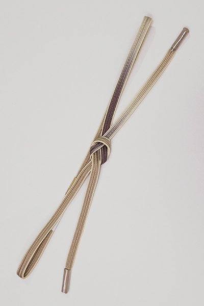 銀座【G-1409】京都 衿秀製 帯締め 畝打組 葡萄鼠色×胡桃染色 二色暈かし(新品)