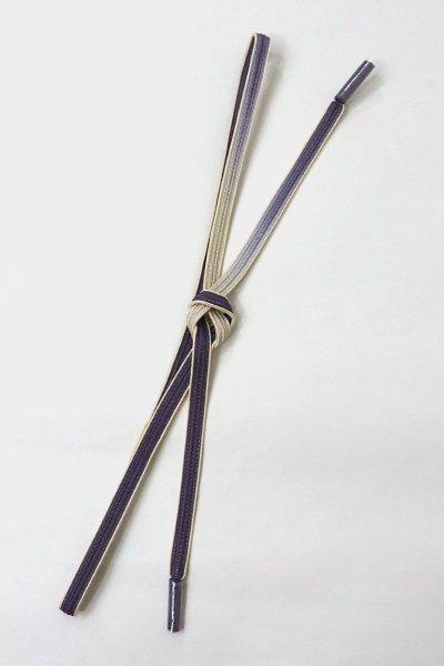 銀座【G-1410】京都 衿秀製 帯締め 畝打組 濃鼠色×灰白色  二色暈かし(新品)