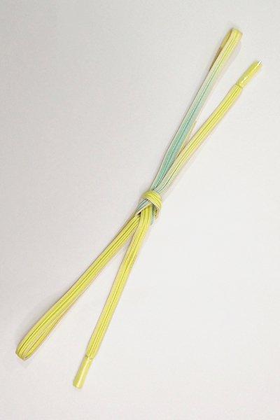 【G-1413】京都 衿秀製 帯締め 畝打組 刈安色×白群色 二色暈かし(新品)