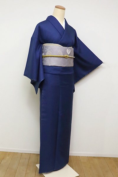 銀座【A-2967】本藍染 花織着物 藍色(反端付・栞付)