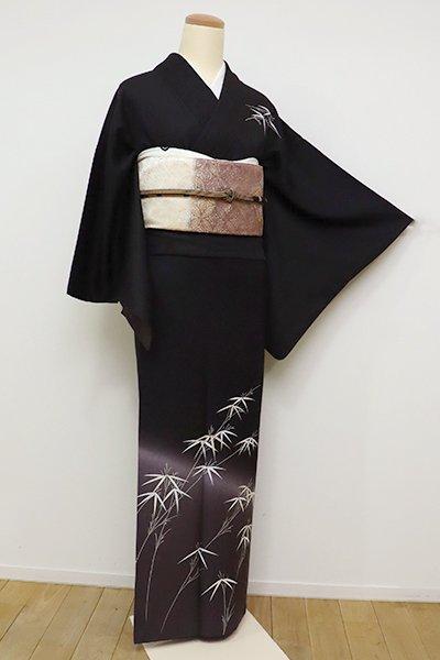 銀座【B-2353】(S)付下げ 黒紅色 笹竹の図