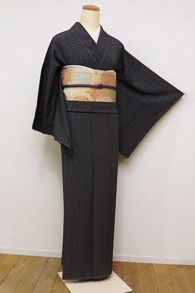 銀座【C-1759】(S・広め)染の北川製 江戸小紋 黒色 幾何文(反端付)