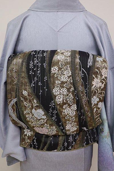 銀座【L-4744】洒落袋帯 墨色 流線に四季花の図