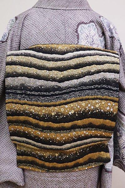 銀座【L-4747】西陣 織楽浅野製 袋帯 黒色×金銀 段に切箔散らし(証紙付)