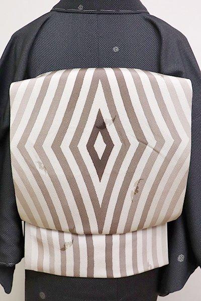 銀座【L-4750】洒落袋帯 練色 幾何文
