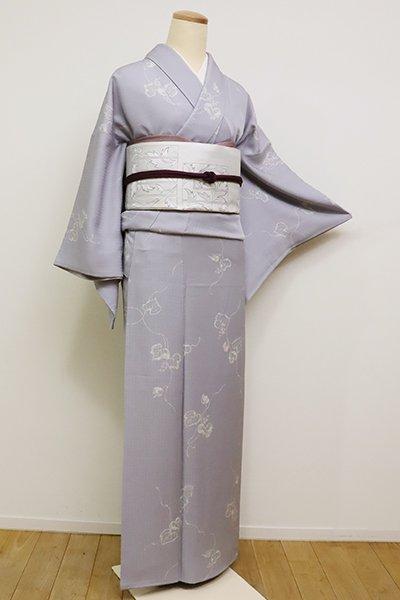 あおき【D-2370】(S)小紋 白菫色 葡萄の図(反端付)