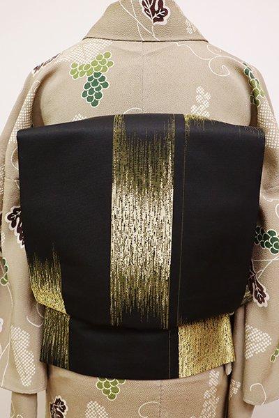 銀座【L-4756】袋帯 黒色×金色 竪絣文