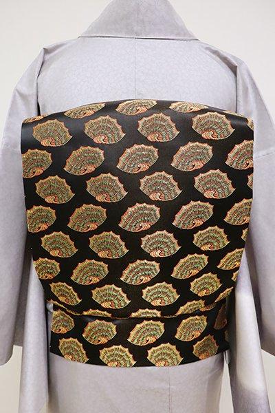 銀座【K-6414】西陣 龍村美術織物製 光波帯 黒色 彩貝文