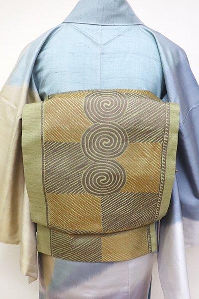 銀座【L-4759】西陣 今河織物製 「木屋太」 洒落袋帯 柳茶色 石畳に渦巻きの図(落款入)