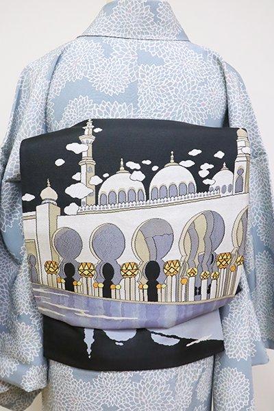 銀座【L-4762】西陣製 洒落袋帯 黒色 エキゾチックな寺院の図(証紙付)