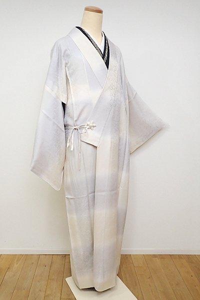 銀座【E-1105】(細め)単衣 道中着 練色×白鼠色 段暈かし