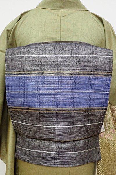 銀座【L-4766】袋帯 濃藍色×黒色 横段