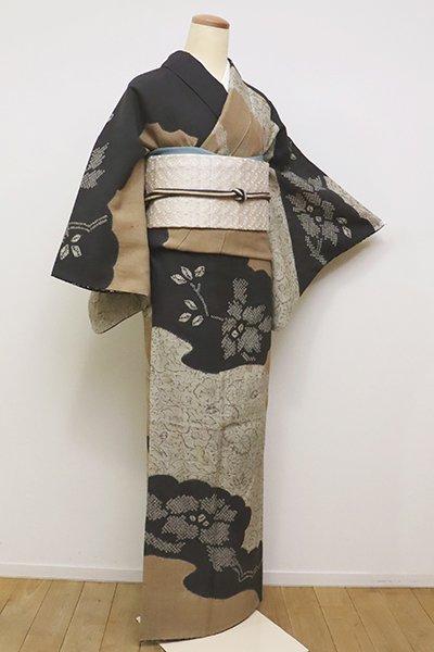 銀座【B-2368】(S)京都 しょうざん製 生紬地 訪問着 雲取りに辻が花文(反端付)