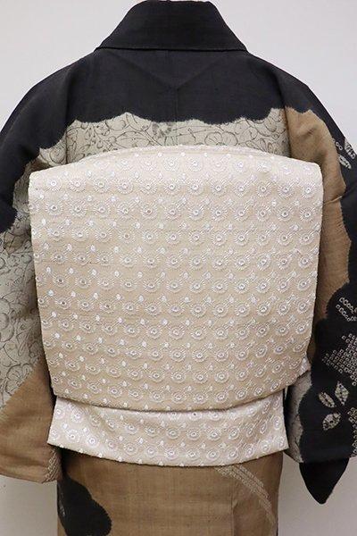 あおき【L-4770】野蚕糸紬地 洒落袋帯 練色 装飾文(長尺・反端付)