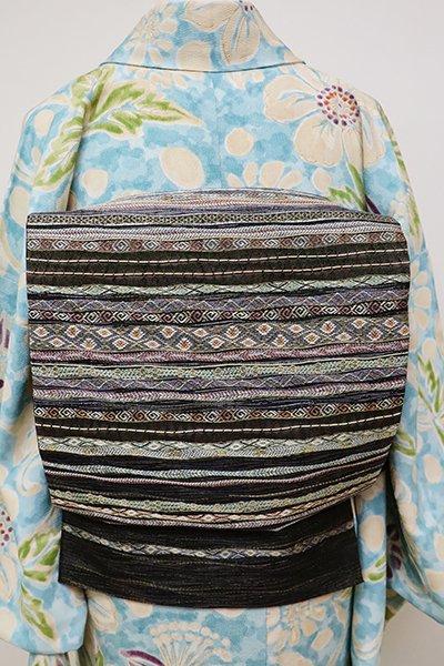 銀座【L-4773】西陣製 袋帯 墨黒色 横段(証紙付)