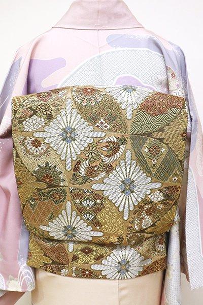 銀座【L-4775】袋帯 金色 七宝繋ぎ文