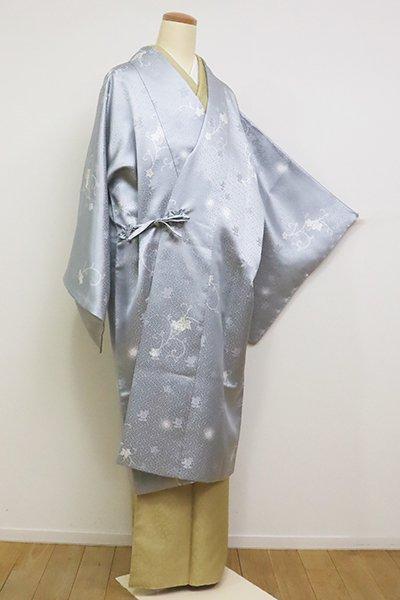銀座【E-1108-2】道中着 白花色 葡萄唐草に蛍暈かし(反端付)(N)
