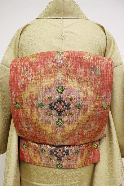 銀座【L-4778】京都しょうざん製「燦煌華」櫛織 洒落袋帯 樺色 上代華文(落款入)