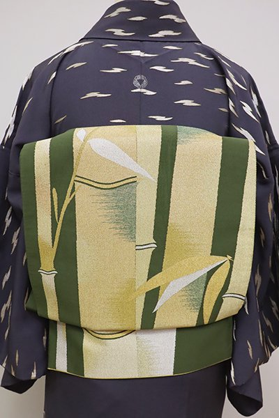 銀座【L-4779】本綴 袋帯 草色 竹の図
