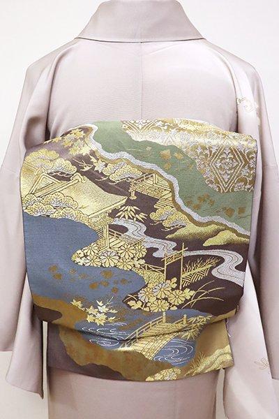 銀座【L-4781】西陣 川島織物製 本袋帯 鳩羽色 道長取り風景図(落款入)