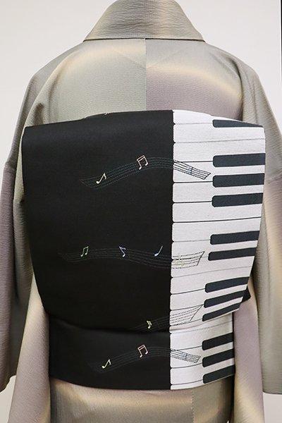 銀座【L-4783】洒落袋帯 黒色 鍵盤と音符の図