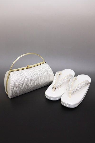 あおき【G-1430】京都 衿秀製 フォーマル 草履・バッグセット 白色×銀色(新品)