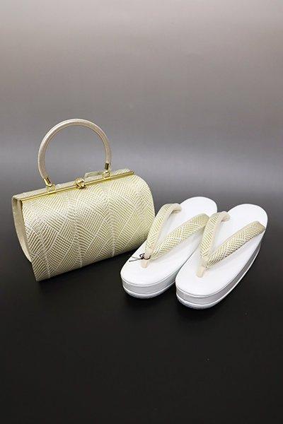 【G-1431】京都衿秀 フォーマル草履・バッグセット 白色×金色(新品)