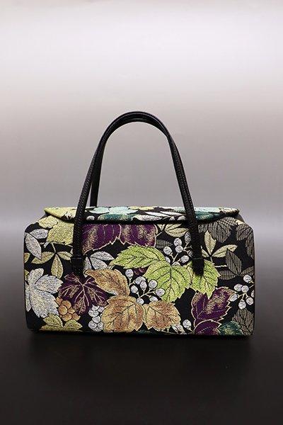 あおき【G-1441】和装バッグ 掘省平作帯地 黒色 葡萄や桐の図