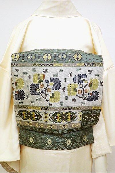 銀座【L-4784】袋帯 豆がら茶色 更紗装飾文