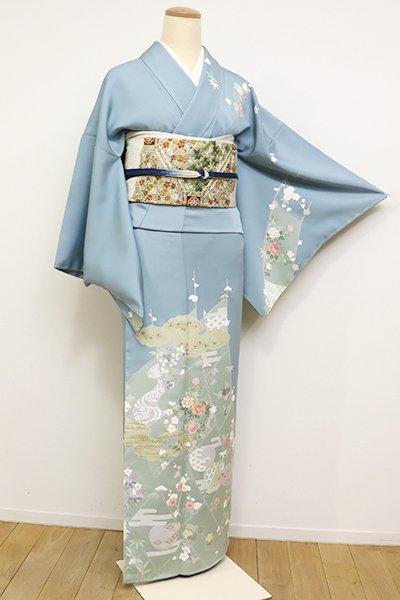 銀座【B-2380】訪問着 浅縹色 檜垣に四季花の図(反端付)