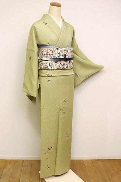 銀座【D-2382】刺繍小紋 抹茶色 花や笹蔓など
