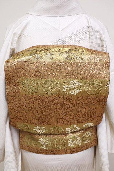 銀座【L-4789】西陣 加納幸製 袋帯 金色×砺茶色 牡丹唐草に華文など(落款入)