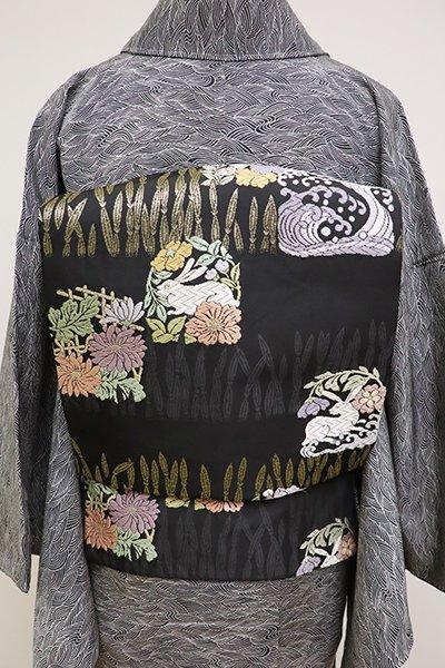 銀座【K-6426】織名古屋帯 黒色 木賊に花兎など