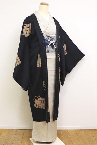 銀座【E-1130】羽織 黒色 源氏香の図(反端付)(N)