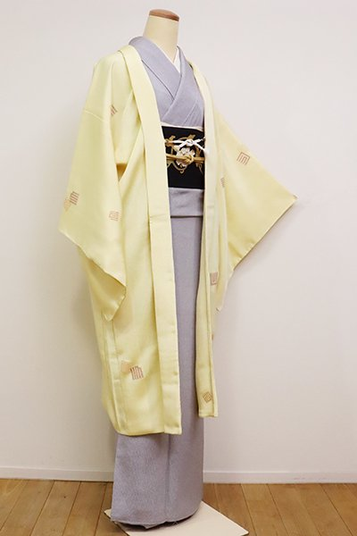 銀座【E-1131】縮緬地 羽織 淡黄色 源氏香散らし(反端付)(N)