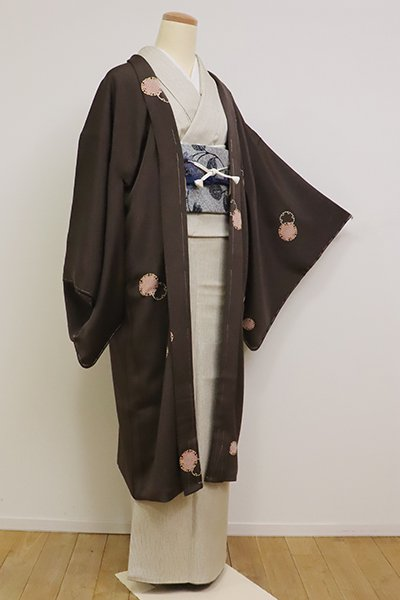 銀座【E-1132】羽織 黒橡色 雪輪文(反端付)(N)