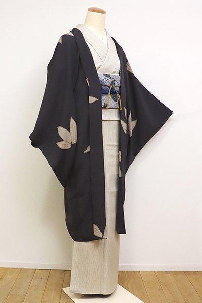 銀座【E-1133】縮緬地 羽織 消炭色 笹の図(羽織紐付き)
