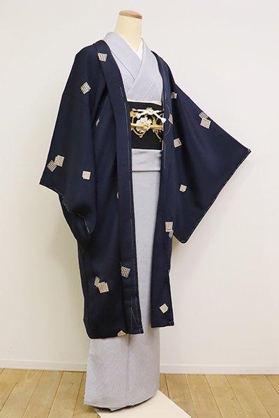 銀座【E-1134】縮緬地 羽織 濃藍色 源氏香散らし(反端付)(N)