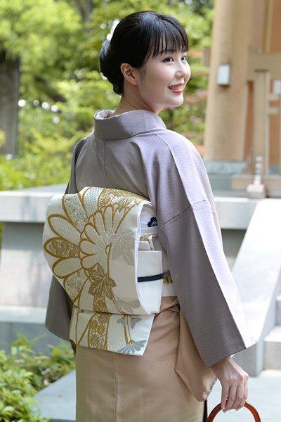 銀座【帯3183】袋帯 白色 菊花の図