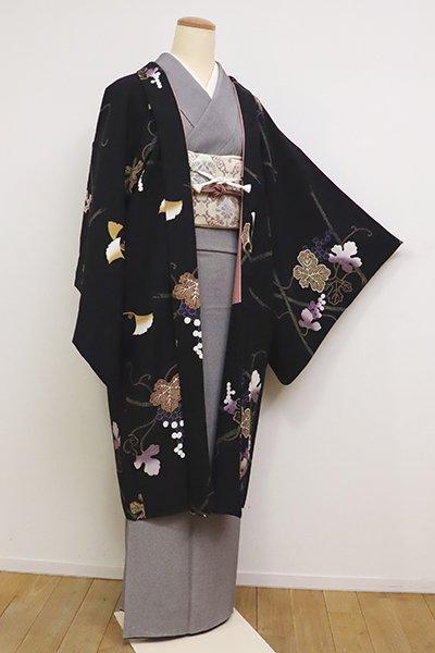 銀座【E-1136】羽織 黒色 垣根に銀杏や葡萄の図
