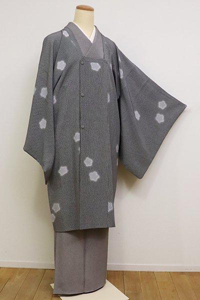 銀座【E-1140】道行コート 黒色 竹縞に花文