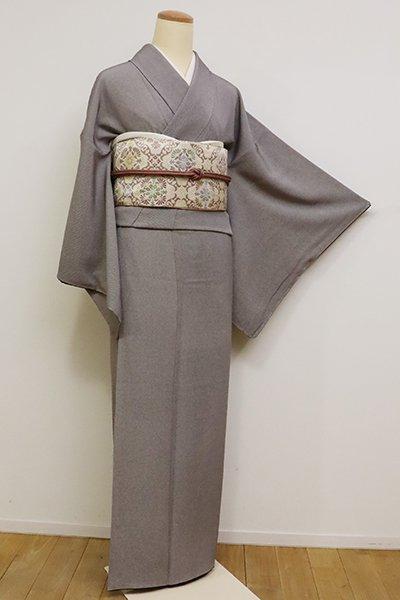 銀座【C-1766】(S)繍一ッ紋 江戸小紋 赤墨色 手綱縞