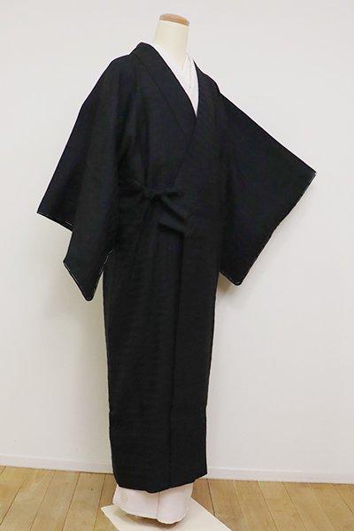 銀座【E-1147】(細め)ざざんざ織 道中着 黒色 雨縞
