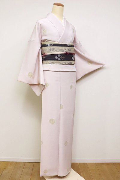 銀座【D-2383】小紋 灰桜色 雪輪文