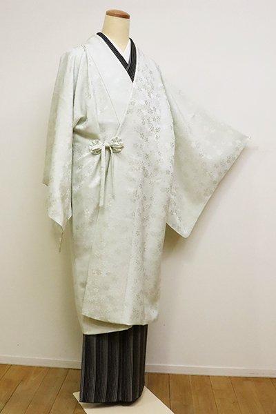 銀座【E-1148】道中着 白緑色 桜の図(反端付)