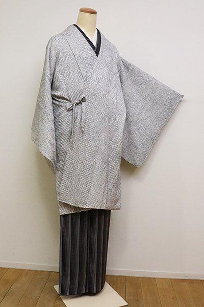 銀座【E-1149】総絞り 道中着 白色×藍鉄色 疋田文