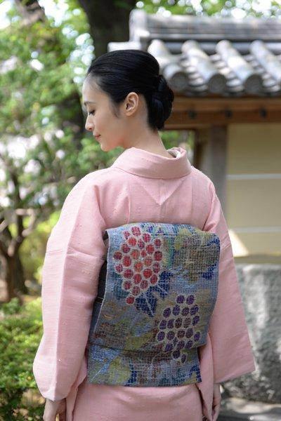 銀座【帯3194】西陣 帯屋捨松製 モザイク八寸名古屋帯 葡萄文