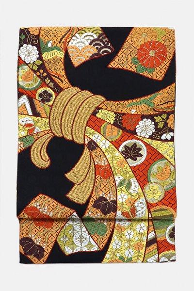 銀座【帯3195】西陣 河合美術織物製 袋帯 (反端・証紙付)