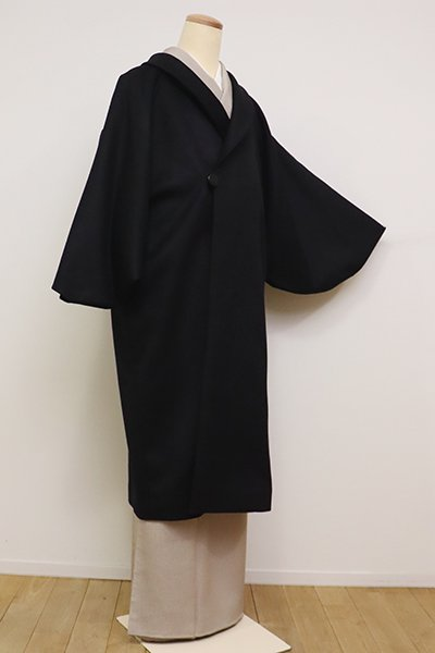 銀座【E-1153】カシミア 和装コート 黒色 無地(N)